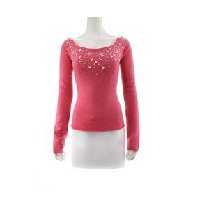 BEBE Camilla Pink Beaded Cashmere Sweater
